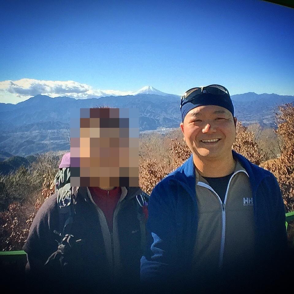 陣馬山で記念撮影