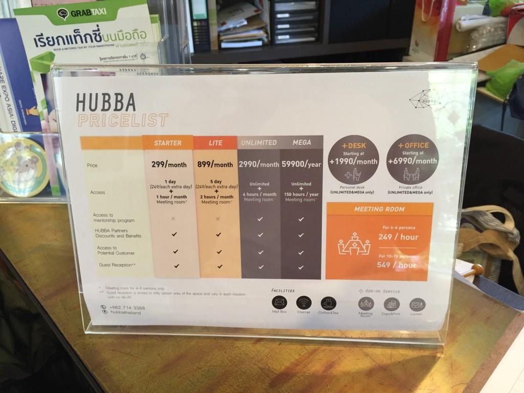 バンコクのエカマイ駅から徒歩15分ほどにあるコワーキングHUBBAの利用料金