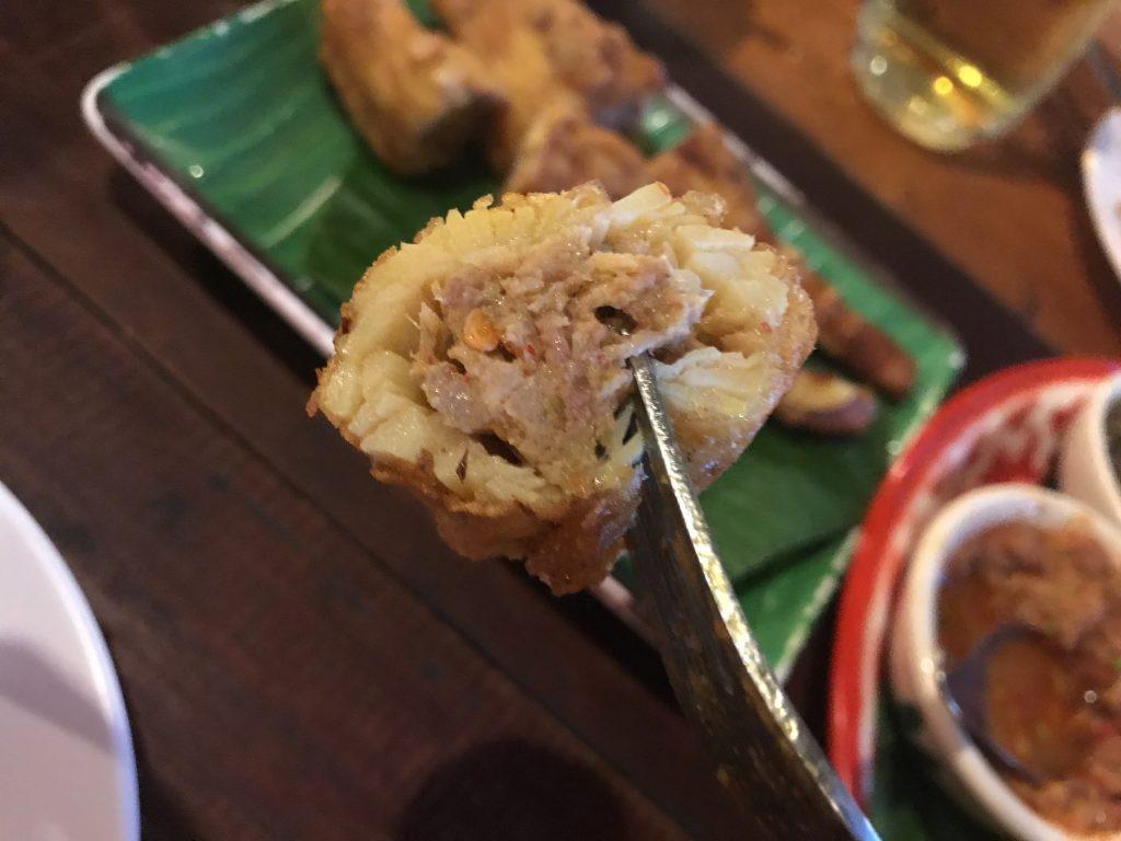 Nho Yat Sai Tord(ノーヤットサイトード) Fried Stuffed Bamboo Shoots(豚肉詰め筍揚げ)80B