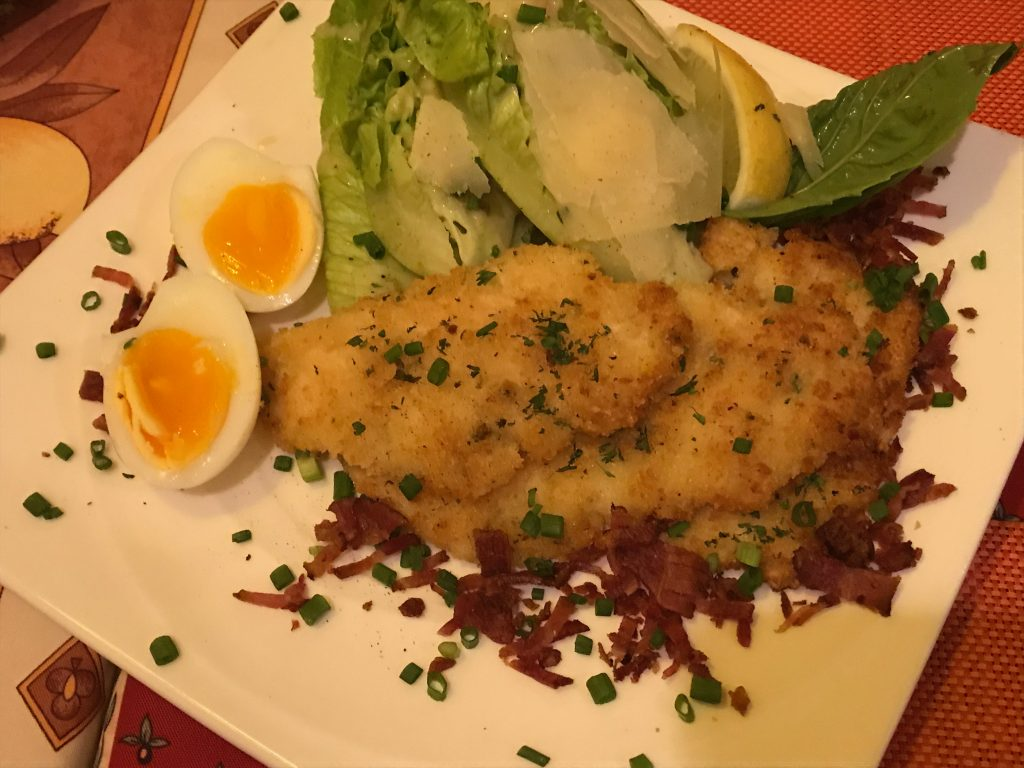 ROMAN SALAD WITH CHICKEN SCHNITZEL BACON HALF COOKED EGG(1,000円)