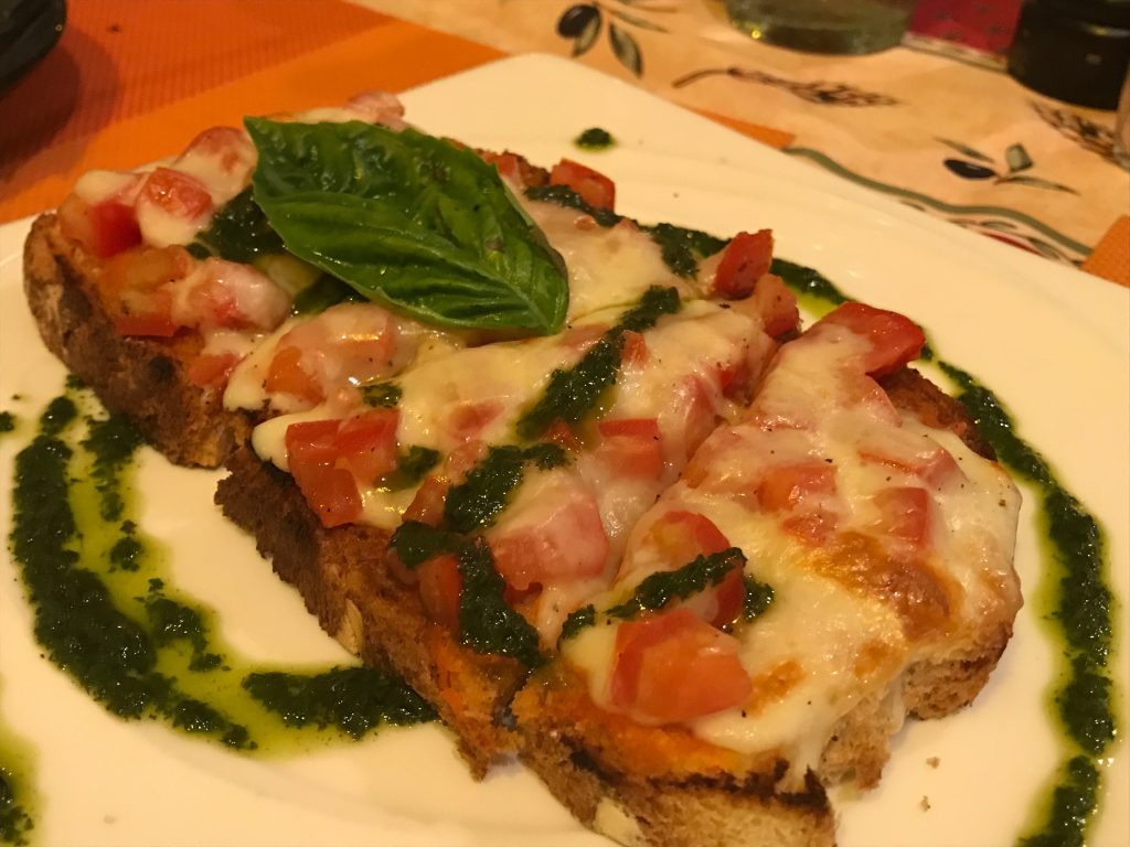 BRUSCHETTA WITH MOZZARELLA TOMATO AND PISTOU(500円)