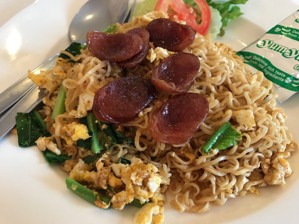 【All Day Lunch】Fried Noodle with Thai Sausage + Egg(200円)