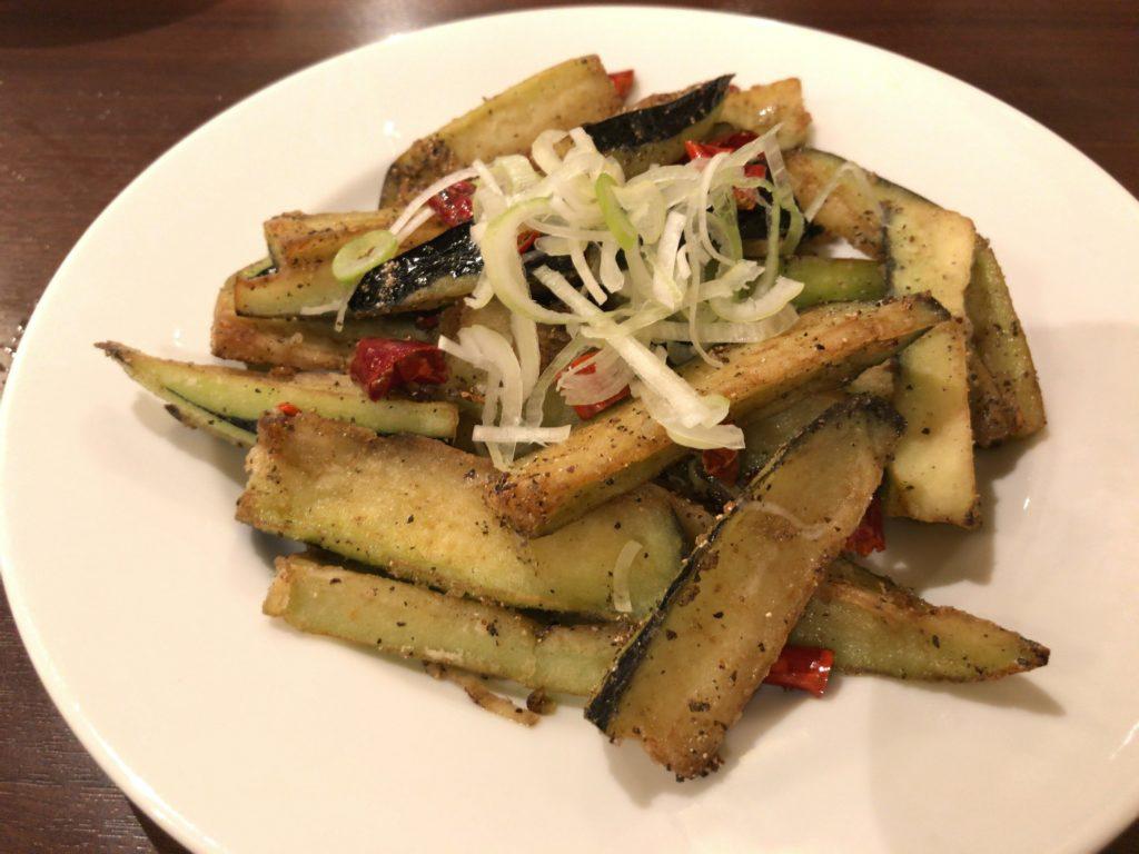 揚げ茄子の塩コショウ炒め(750円)