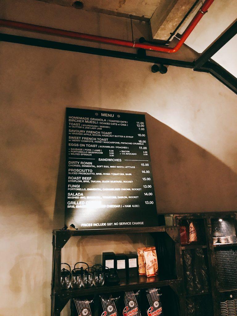 シンガポール朝食で人気のカフェ「RONIN」のメニュー
