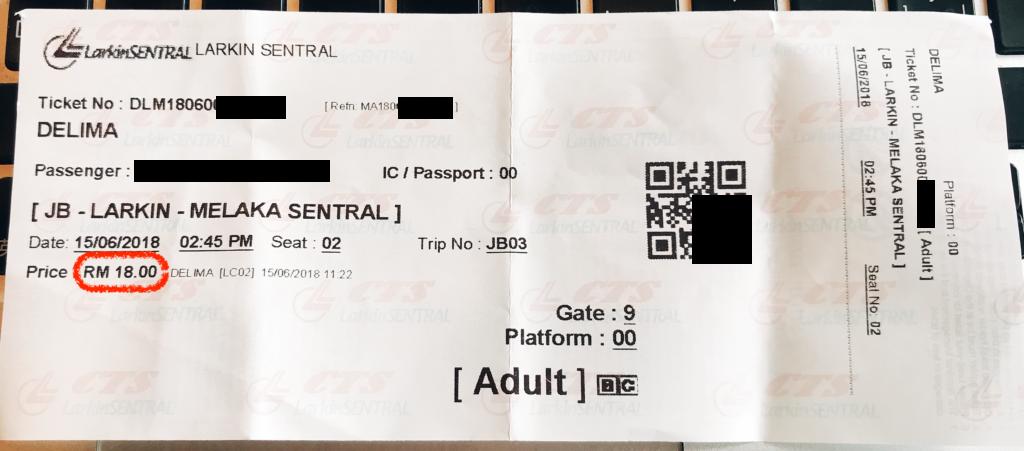 ジョホールバルからマラッカへのバス料金