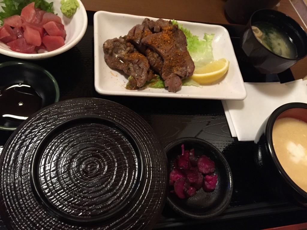 極楽湯で牛タンとろろ定食