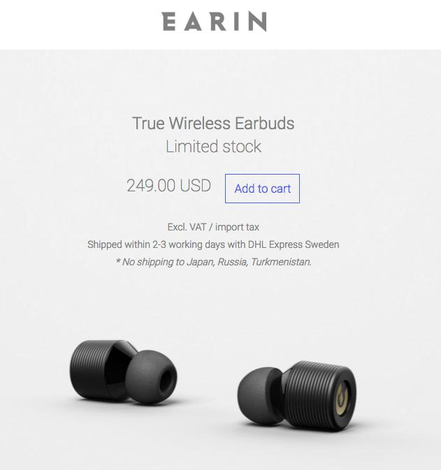 完全ワイヤレス!超小型・超軽量のBluetoothイヤホン「EARIN」は公式サイトから日本への配送は禁止
