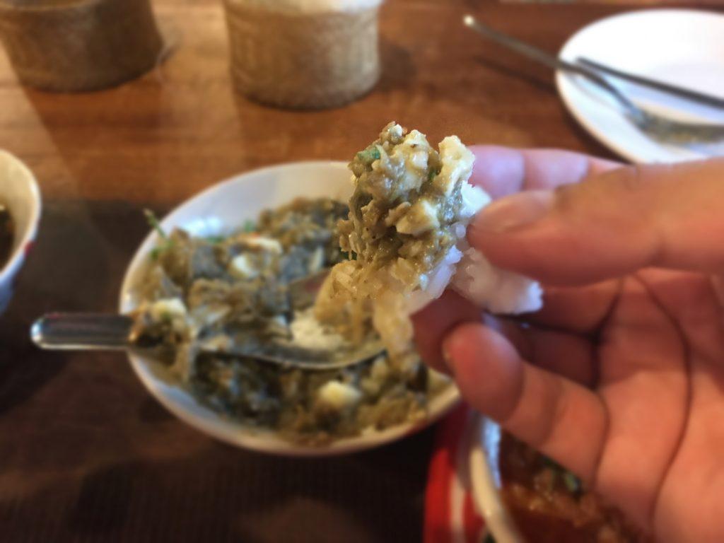 Tam Ma-Khua Yao - Khai Tom(タムマクアヤオカイトム) Spicy Grilled eggplant pounded with boiled ewggs(焼きなすと焼き生唐辛子の砕き)65B
