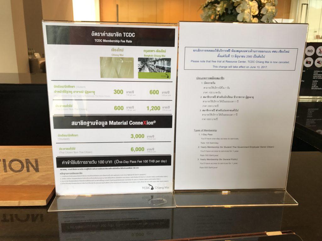 TCDCチェンマイ(TCDC Resource Center)の利用料金
