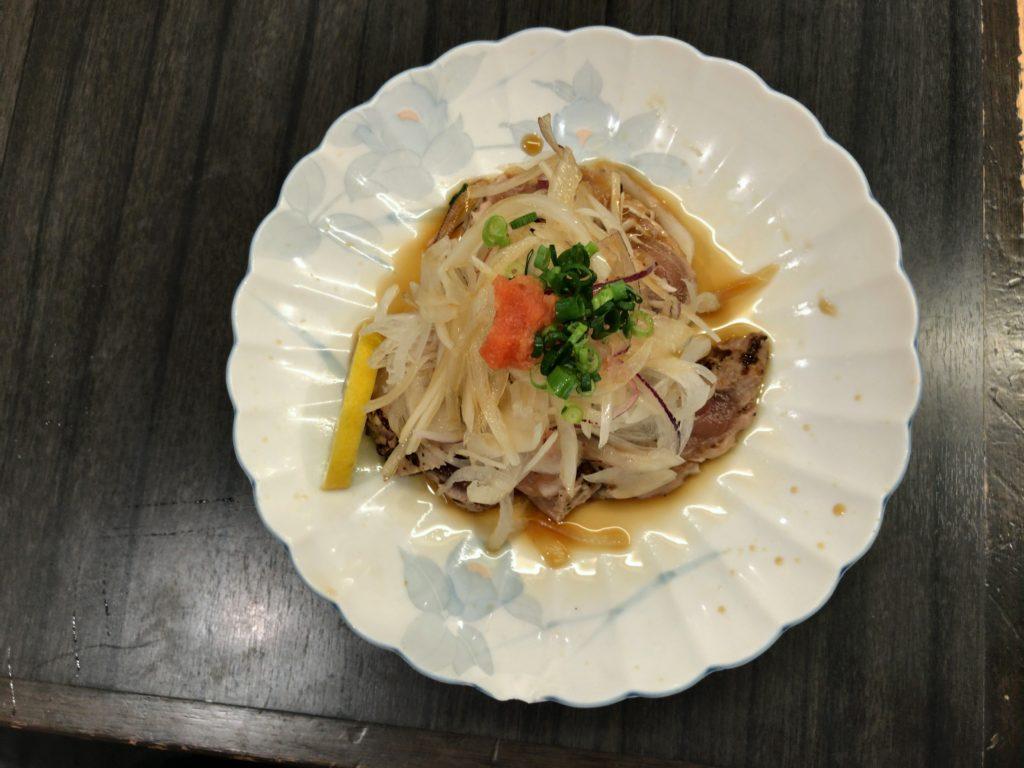 マグロ脳天タタキポン酢(780円)