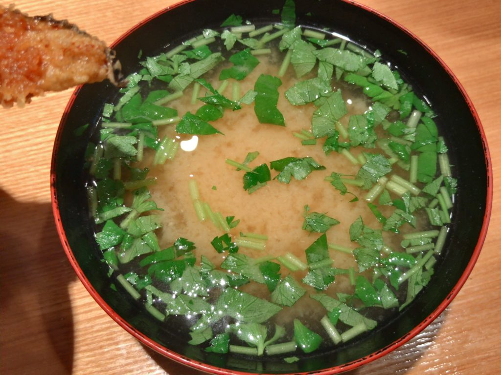 金子半之助の三つ葉のお味噌汁(120円)