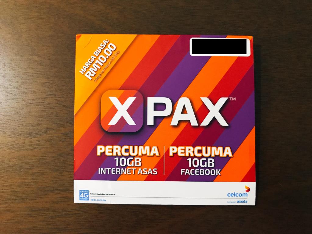 X PAX(30日間/10GB(+10GB=20GB)/1,500円+SIM代金300円)