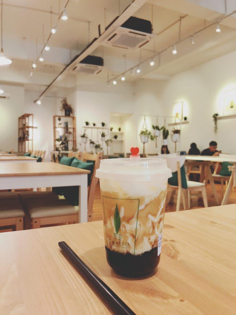 ジョホールバルのおしゃれカフェCHATTO(再訪)のBrown Sugar Pearl Latte(300円/RM9.9)