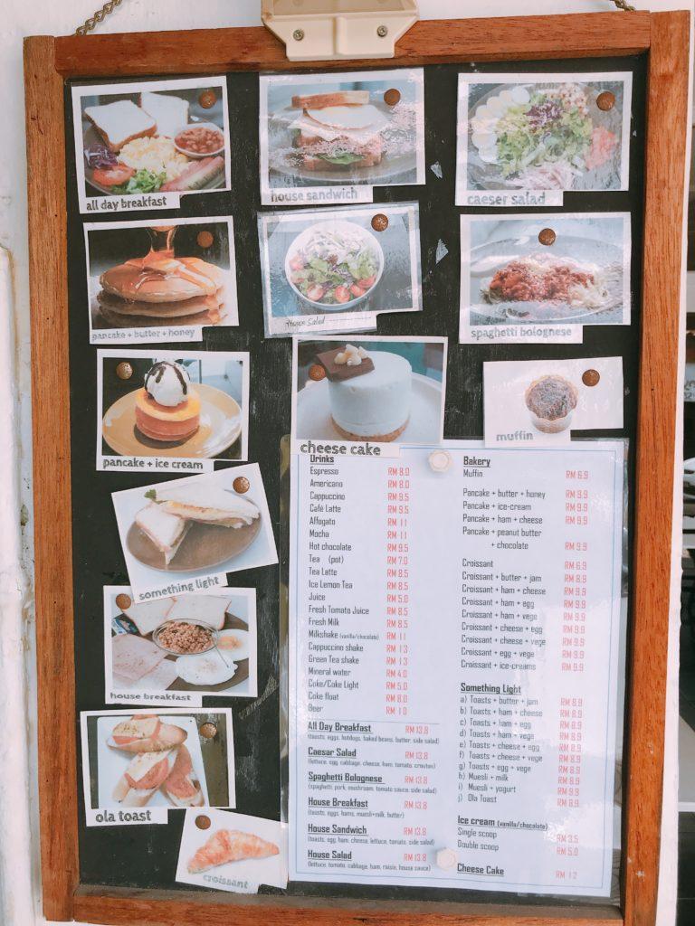 マラッカの穴場カフェOla Lavenderia cafeのメニュー