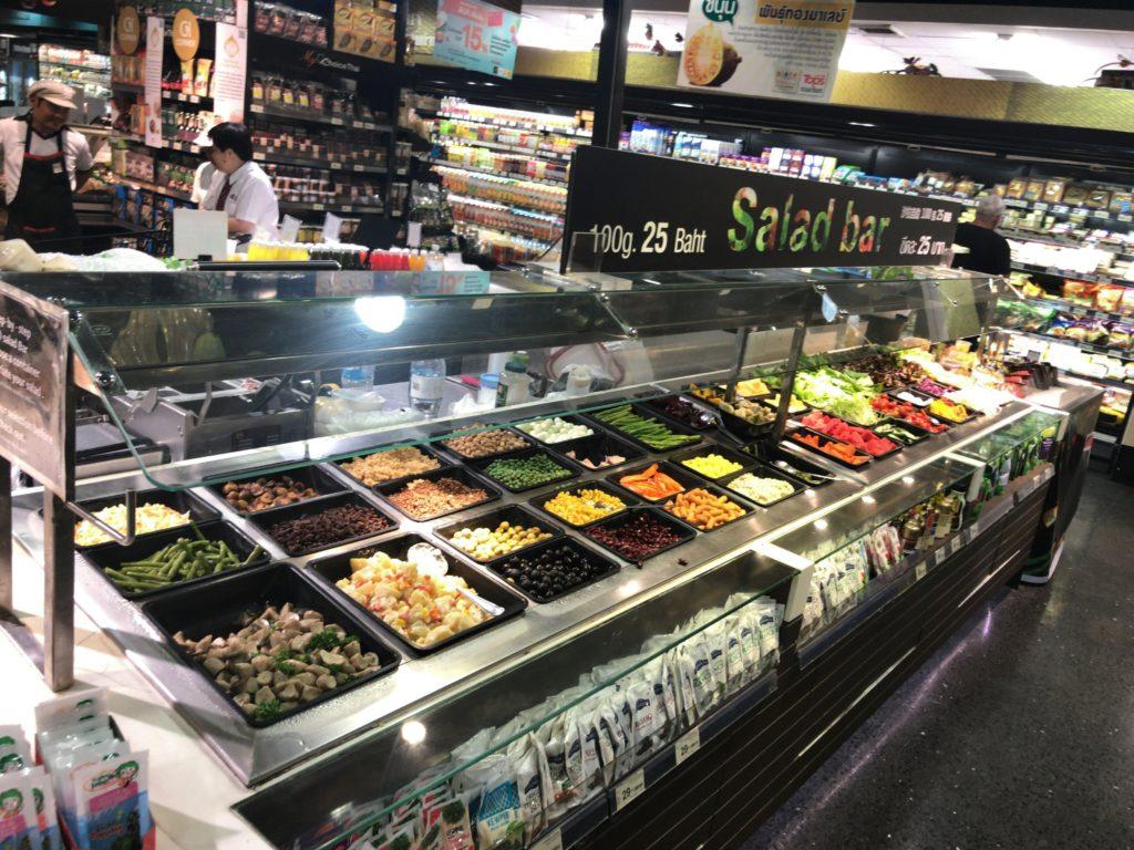ガートスワンケーオのTOPSにある野菜バイキングコーナー(88円/100g)